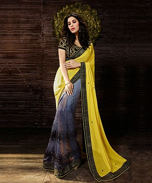 Beautiful Yellow and Grey Embroidery Net and Georgette Saree @ Rs1173.00