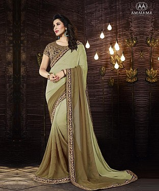 Beautiful Cream Embroidery and Fancy Jecart Georgette Saree @ Rs1297.00