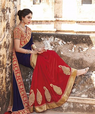 Beautiful Blue and Red Coding Multi Georgette Saree @ Rs1112.00