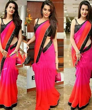 Beautiful Red and Pink Lace Work Georgette Saree @ Rs594.00