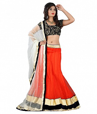 Stylesensus Orange Net Lehenga @ Rs4635.00