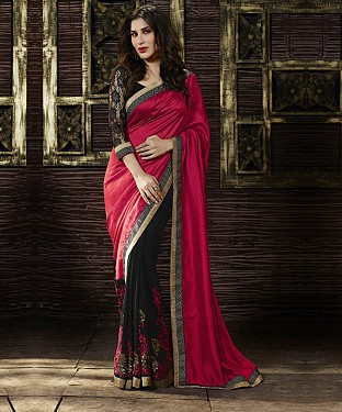 Beautiful Red and Black Embroidery Georgette Saree @ Rs988.00