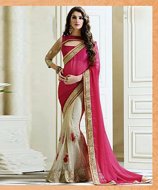 Beautiful Pink Embroidery Net and Satin Saree @ Rs1113.00
