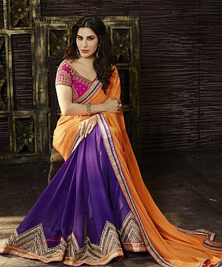 Beautiful Orange and Purple Embroidery Georgette Saree @ Rs1359.00