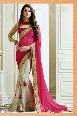 Beautiful Pink Embroidery Net and Satin Saree @ Rs0.00