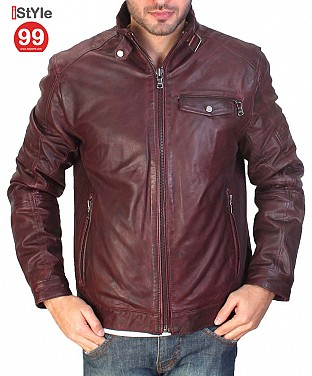 Reddish Brown Leather Jacket @ Rs6484.00