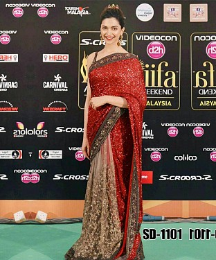 Beautiful Red and Brown Embroidery Georgette and Net Saree @ Rs1235.00