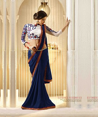 Beautiful Blue Embroidery Georgette  Saree @ Rs864.00