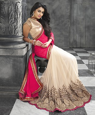 Beautiful Pink and Cream Embroidery Georgette  Saree @ Rs1050.00