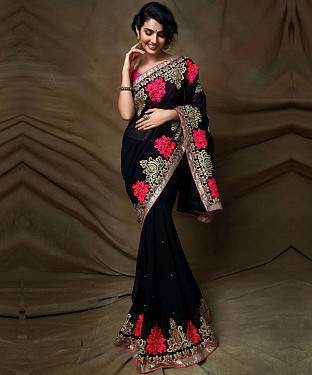 Beautiful Black Embroidery Georgette Saree @ Rs1050.00