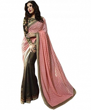 Beautiful Pink Lace Border Georgette Saree @ Rs1235.00