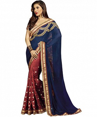 Beautiful Blue Lace Border Georgette  Saree @ Rs1112.00