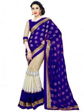 Beautiful Blue And Cream Lace Work Georgette Saree @ Rs804.00