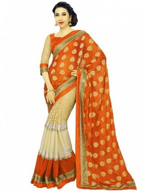 Beautiful Orange And Cream Lace Work Georgette Saree @ Rs804.00