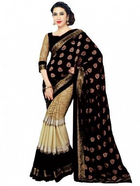 Beautiful Black And Cream Lace Work Georgette Saree @ Rs804.00