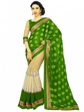 Beautiful Green And Cream Lace Work Georgette Saree @ Rs804.00