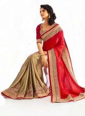Beautiful Red Embroidery,Lacework Georgette Saree @ Rs989.00