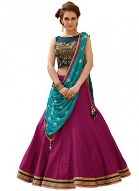 New Banglori Silk Blue And Purple Lehegha Choli@ Rs.1235.00