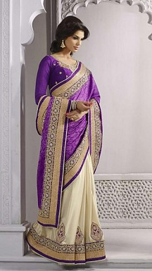 Beautiful Purple Embroidery,Lacework Georgette Saree @ Rs989.00