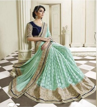 Beautiful Green Embroidery, Lace Work Georgette And Net  Saree @ Rs1113.00