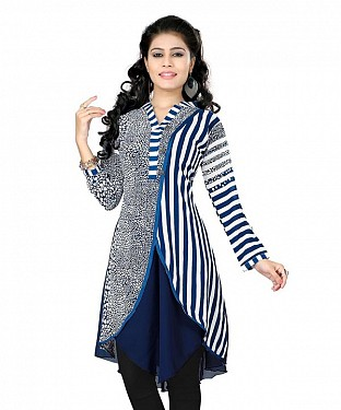 Blue Georgette Printed Kurti @ Rs679.00