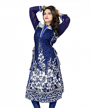 Blue Georgette Printed Kurti @ Rs803.00