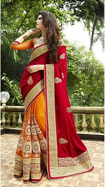 Bridal Red & Orange Embroidered Saree@ Rs.1051.00