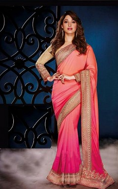 Gorgeous Pink Embroidered Lacework Saree @ Rs1051.00