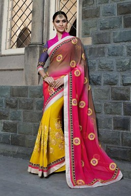 Designer Multicolor Embroidered Georgette Saree @ Rs1175.00