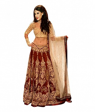 Krishna Enterprise Maroon Net Embroidered Lehenga @ Rs3780.00