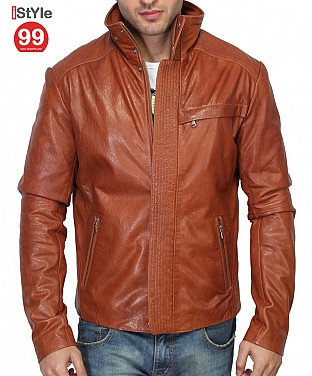 Stylish  Tan Leather Jacket Slim Fit @ Rs6282.00