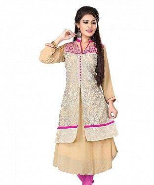 Beige Georgette Embroidered Kurti @ Rs926.00