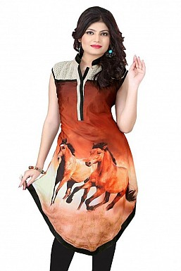 Orange Georgette Printed Kurti @ Rs803.00