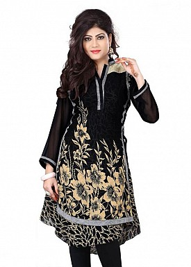 Black Georgette Printed Kurti @ Rs803.00