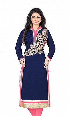 Blue Chanderi Embroidered Kurti @ Rs926.00