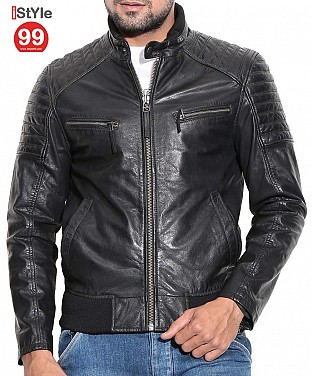 Black Leather Biker Jacket @ Rs6690.00
