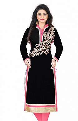 Black Chanderi Embroidered Kurti @ Rs926.00