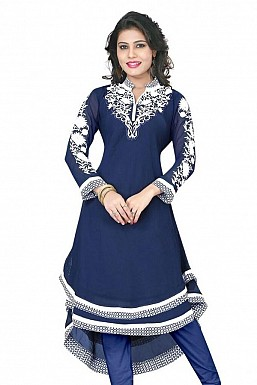 Blue Georgette Embroidered Kurti @ Rs926.00