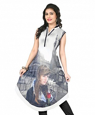 Grey Georgette Printed Kurti @ Rs803.00