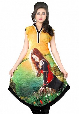 Yellow Georgette Printed Kurti @ Rs803.00