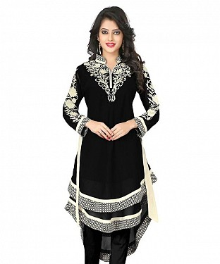 Black Georgette Embroidered Kurti@ Rs.864.00