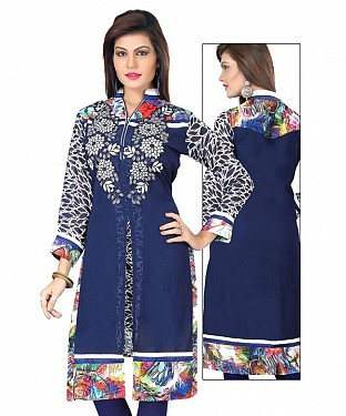 Blue Georgette Embroidered Kurti @ Rs803.00