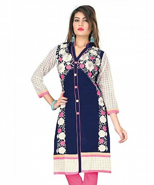 Blue Cotton Embroidered Kurti @ Rs926.00
