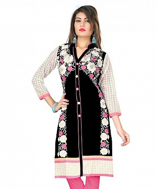 Black Cotton Embroidered Kurti @ Rs926.00