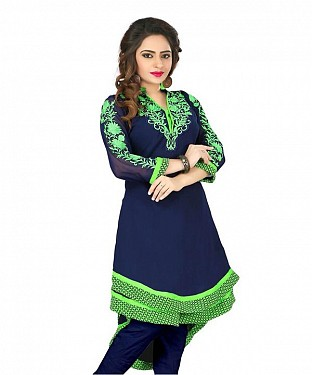 Blue Georgette Embroidered Kurti@ Rs.864.00