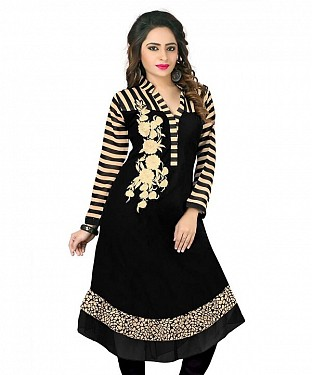 Black Georgette Embroidered Kurti @ Rs803.00