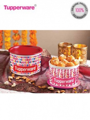 Tupperware Petals Collection One Touch Topper Container Set, 2-Pieces @ Rs774.00