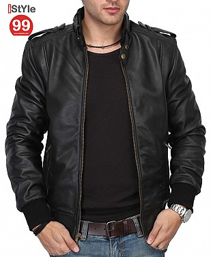 Stylish  Black Leather Jacket @ Rs6488.00