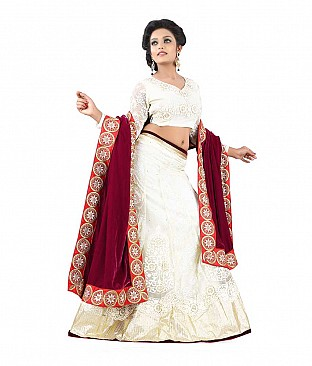 Rudra Creations Multi Colour Art Silk Embroidered Semi Stitched Lehengas @ Rs4202.00