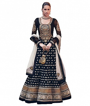 Kumudkala Black Faux Georgette Unstitched Dress Material @ Rs1853.00